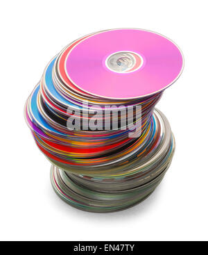 Computer Discs in a Large Leaning Stack Isolated on a White Background. - Stock Photo