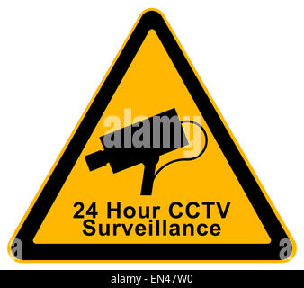 Yellow Triangle 24 Hour Surveillance Warning Sign Isolated on White Background. - Stock Photo