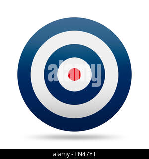 Round Target with Blue Rings and Red Center Isolated on White Background. - Stock Photo