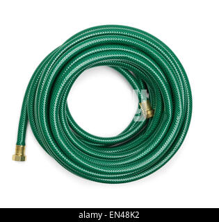 Green Hosepipe; Top View Of A Green Garden Hose Isolated On A White  Background.   Stock Photo