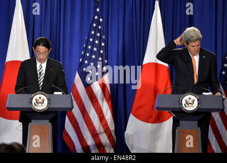 New York, USA. 27th Apr, 2015. U.S. Secretary of State John Kerry (R) and Japanese Foreign Minister Fumio Kishida - Stock Photo