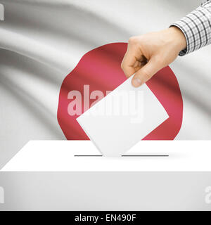 Ballot box with national flag on background series - Japan - Stock Photo