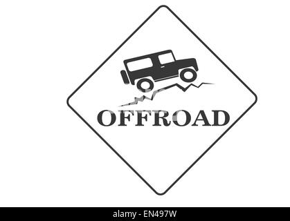 vintage old offroad sign - vector animation - Stock Photo