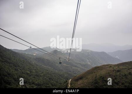 Lantau Island cable car in Hong Kong - Stock Photo