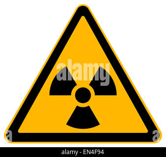 Yellow Triangle Nuclear Warning Sign Isolated on White Background. - Stock Photo