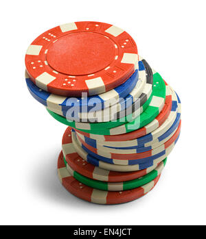 Single Stack of Poker Chips Isolated on a White Background. - Stock Photo