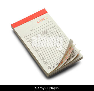 Blank Red Receipt Pad with Curled Edge Isolated on a White Background. - Stock Photo
