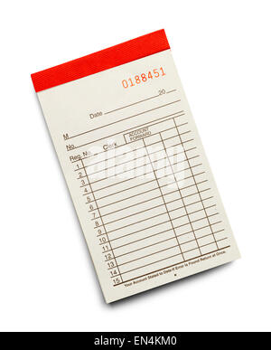 Receipt Pad with Copy Space from the Top View Isolated on a White Background. - Stock Photo
