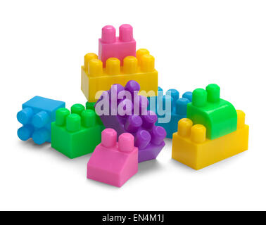 Plastic Toy Building Blocks Isolated on a White Background. - Stock Photo