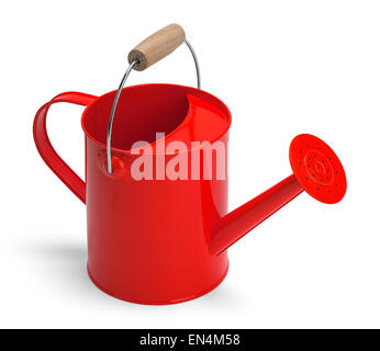 Angle View of a Metal Red Watering Bucket With Handle Isolated on a White Background. - Stock Photo
