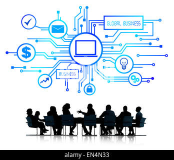 Group of Business People Discussing Global Business - Stock Photo