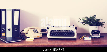 Retro office desk front view - Stock Photo