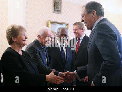 Moscow, Russia. 28th Apr, 2015. Russia's foreign minister Sergei Lavrov (R front) and his deputy Gennady Gatilov - Stock Photo
