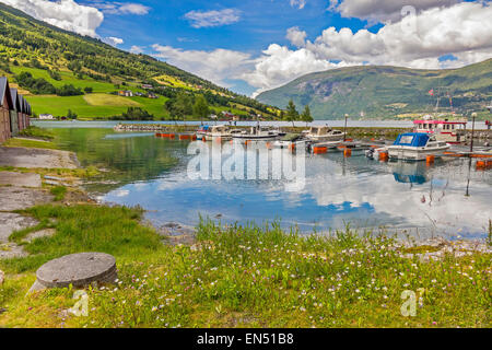 Boats Tied Up At Olden Norway - Stock Photo