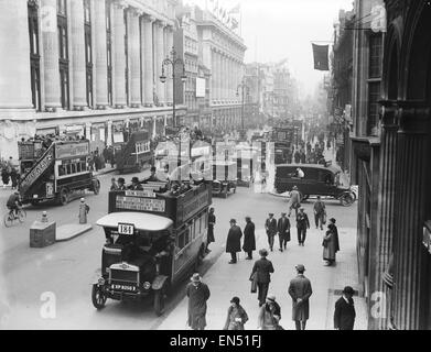 Buses driven by volunteers seen here in Oxford Street London on the 9th day of the General Strike. The national - Stock Photo