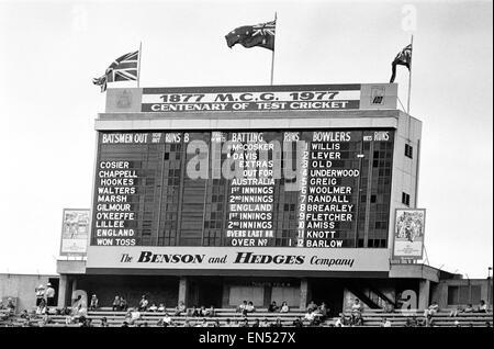Centenary Test match between Australia and England at The MCG Cricket Ground, Melbourne, Australia. Scoreboard before - Stock Photo