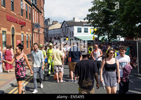 Crowds of people at Sheffield Tramlines  an annual music festival held in South Yorkshire England - Stock Photo