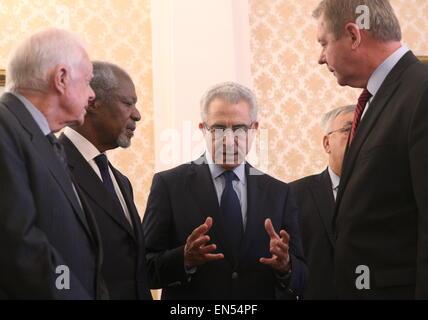 Moscow, Russia. 28th Apr, 2015. Former US president Jimmy Carter, former UN secretary general Kofi Annan, former - Stock Photo