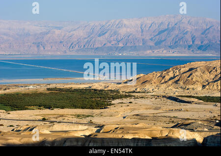 Southern part of the dead sea as seen from the rock Masada - Stock Photo