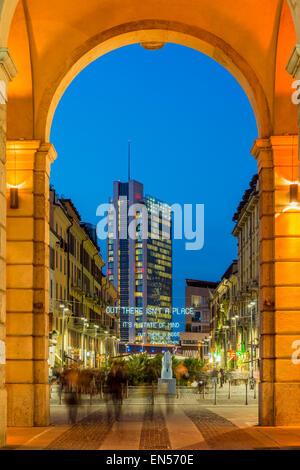 Night view of Corso Como night life area, Milan, Lombardy, Italy - Stock Photo