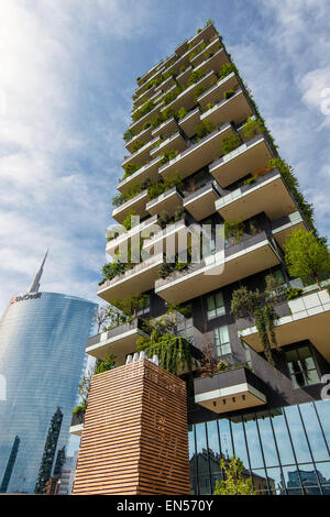 Bosco Verticale or Vertical Forest residential towers located in Porta Nuova district, Milan, Lombardy, Italy. The - Stock Photo