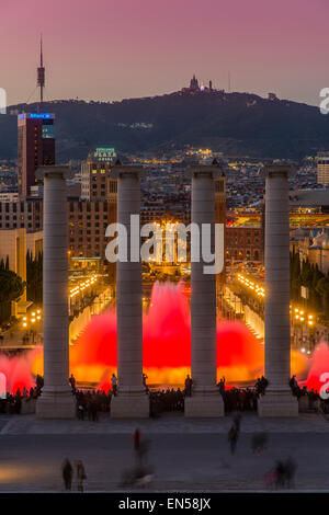 Night light show at Magic Fountain or Font Magica located in Montjuic, Barcelona, Catalonia, Spain - Stock Photo