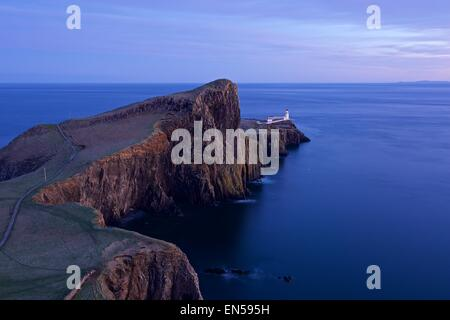 A colour image taken at dusk of Neist Point on the Isle of Skte