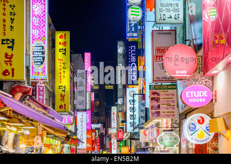 Seoul, South Korea in Myeong-Dong. The location is the premiere district for shopping in the city. - Stock Photo