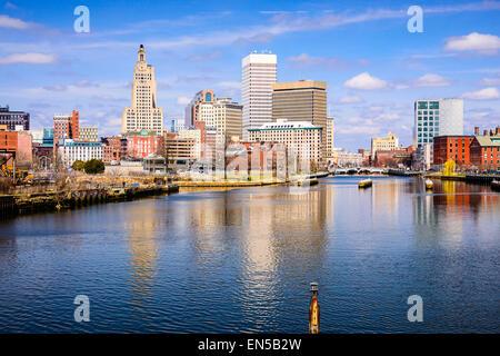 Providence, Rhode Island, USA skyline on the river. - Stock Photo