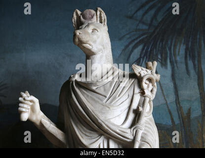Roman Art. Statue of the god Hermanubis. Hybrid of Anubis and the Greek god Hermes.. Marble. 1st-2nd century AD. - Stock Photo