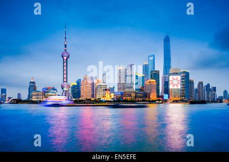 Shanghai, China financial district skyline on the Huangpu River.