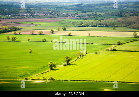Summer view over patchwork of green fields looking east Roundway Hill, near Devizes, Wiltshire, England, UK - Stock Photo