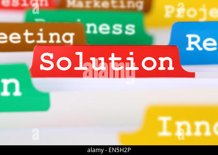 Successful solution for problem business concept office text on register in documents - Stock Photo