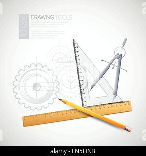 Vector illustration with drawing and drawing tools - Stock Photo