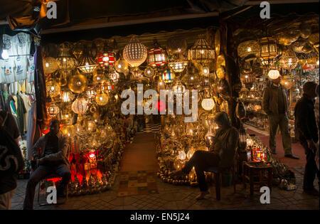 Souk, or market, Marrakech, Morroco.  Lantern shop at night. - Stock Photo
