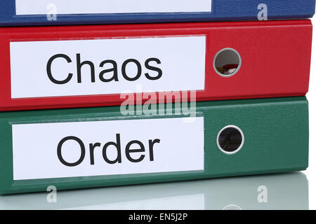 Chaos and order organisation mess in office business concept - Stock Photo