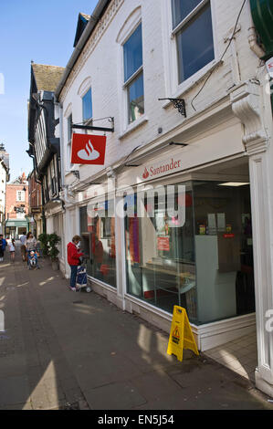 Santander Bank on narrow medieval Drapers Lane in town of Leominster Herefordshire England UK - Stock Photo