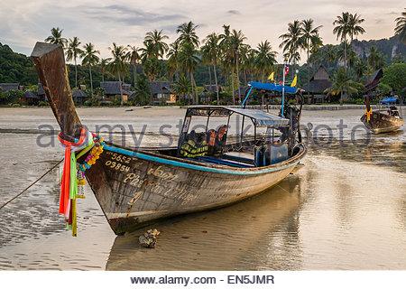 Long tail boats - Thailand - Stock Photo