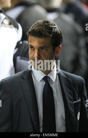 Udine, Italy. 28th April, 2015. Udinese's Coach Andrea Stramaccioni looks during the Italian Serie A football match - Stock Photo