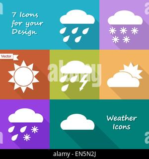 Colored icons design of weather forecast in flat style - Stock Photo