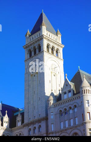 The Old Post Office Pavilion, also known as Old Post Office and Clock Tower in Washington DC. - Stock Photo