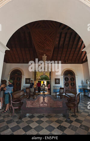 Vertical view inside the Romantic Museum (Museo Romantico) in Trindad, Cuba - Stock Photo