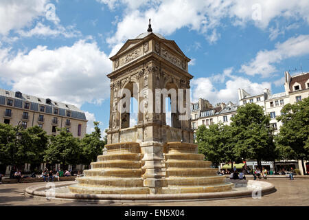 Paris Fontaine des Innocents in Les Halles, France, Europe - Stock Photo