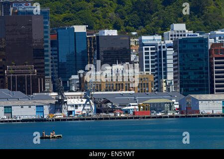 Wellington CBD and harbour, and swimmers on pontoon, Wellington, North Island, New Zealand - Stock Photo