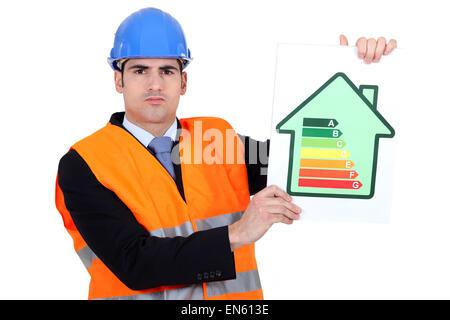Surveyor holding energy  poster - Stock Photo