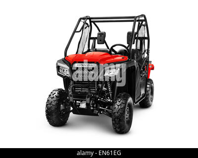 2015 Honda Pioneer 500 SxS ATV quad isolated on white background with clipping path - Stock Photo