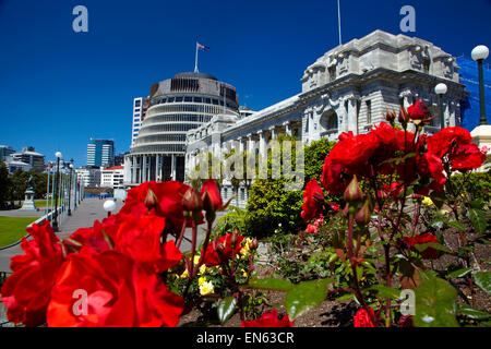 The Beehive and Parliament House, Wellington, North Island, New Zealand - Stock Photo
