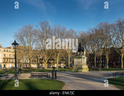Statue of William III by John Michael Rysbrack in Queen Square in the Old City of Bristol, UK - Stock Photo