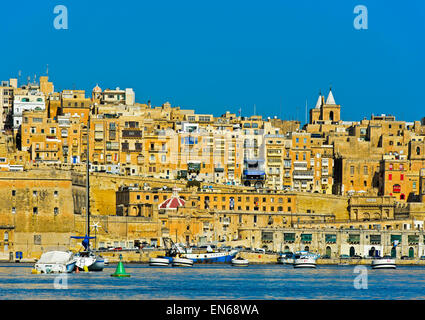 Scenic skyline of the old town of  Valletta from the Grand Harbour area, Valletta, Malta - Stock Photo