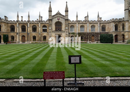 Immaculate grounds of the College of Corpus Christi and the Blessed Virgin Mary of the University of Cambridge - Stock Photo
